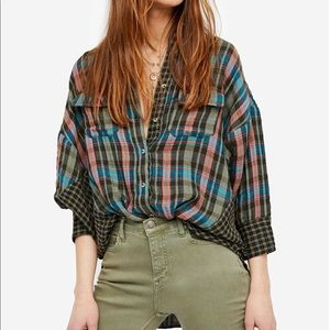 Free People Green One Of The Guys Plaid Shirt.